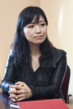 Keiko Matsui gives interview before her performance in Minsk on March 27, 2013 Royalty Free Stock Image
