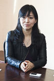 Keiko Matsui gives interview before her performance in Minsk on March 27, 2013 Stock Photo