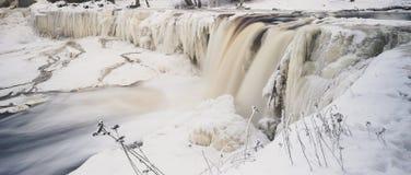 Keila-Joa waterfall by winter, Estonia royalty free stock image