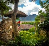 Keilschwanzsittich in den Kolonialklosterruinen mit Bergen Stockfoto