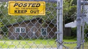 Kein Übertreten am Bretterbude Lizenzfreie Stockfotos