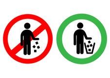 Kein Abfall unterzeichnen herein Vektor Lizenzfreies Stockbild