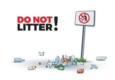 Kein Abfallzeichen und Abfall Stockfotos
