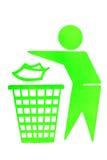 Kein Abfallzeichen von trashcan Stockfotografie