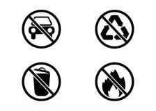 Kein Auto, kein Abfall, keine Wiederverwertung und keine Feuervektorzeichen stock abbildung