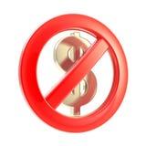 Kein Bargeldzeichen als gekreuztes Dollarsymbol Stockbild