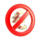 Kein Bargeldzeichen als gekreuztes Eurosymbol Stockfoto
