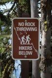Kein Felsen-werfendes Zeichen Stockfoto