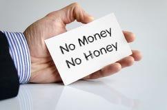 Kein Geld kein Honigtextkonzept Lizenzfreies Stockfoto