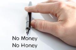 Kein Geld kein Honigtextkonzept Stockbild