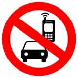 Kein Handy beim Fahren des Vektorzeichens Lizenzfreie Stockbilder