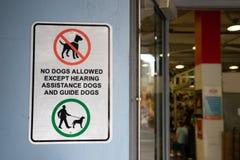 Kein Hund erlaubte Zeichen und Symbol im Markt Lizenzfreie Stockfotos