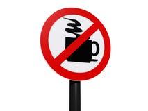 Kein Kaffee-Zonen-Zeichen auf Posten Stockbilder