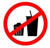 Kein Lebensmittel erlaubte das Symbol, lokalisiert auf weißem Hintergrund Das Verbot auf Bearbeitung eines geöffneten Feuers Lizenzfreie Stockfotos