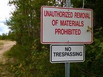 Kein nicht autorisierter Abbau des Material-Zeichens Stockbild