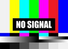 Kein Signal Fernsehtestseite-Vektor Signal der farbigen Stäbe des Fernsehens Einleitung und das Ende der Fernsehenprogrammierung  stock abbildung