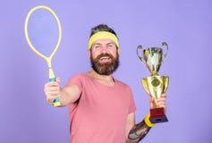 Kein Spieler kann auf Gericht gegen mich treten und f?hlt sich ?berzeugt Tennisspieler-Gewinnmeisterschaft Athletenhippie-Griffte lizenzfreies stockbild