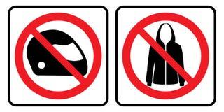 Kein Sturzhelm- und Jackenzeichen lizenzfreie abbildung