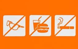 Kein Sunglass kein Lebensmittel Nichtraucher. Lizenzfreie Stockfotografie