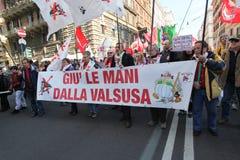 KEIN TAV Protest in Rom Stockbild