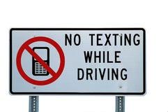Kein Texting beim Antreiben des Zeichens Stockfotografie