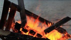 Kein Ton Dreißig-30 Sekunden-Nahaufnahmevideo des Anfangs Guy Fawkes-Feuers stock footage