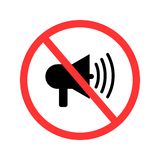 Kein Ton, keine Geräusche, Verbotszeichen, Vektorillustration stock abbildung