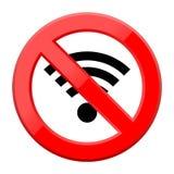 Kein Wifi-Zeichen - Wi-Fisymbol Ikone des drahtlosen Netzwerks Stockfoto