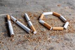 Kein Wort einer Zigarette Lizenzfreie Stockbilder