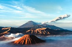 Volcanos Mount Semeru and Bromo in East Java. Indonesia, Southeast Asia stock image