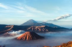 Volcanos Mount Semeru and Bromo in East Java. Indonesia, Southeast Asia royalty free stock photography