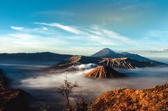 Volcanos Mount Semeru and Bromo in East Java. Indonesia, Southeast Asia royalty free stock images