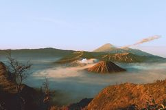 Volcanos Mount Semeru and Bromo in East Java. Indonesia, Southeast Asia royalty free stock image