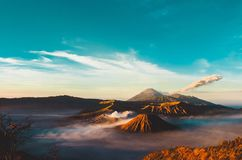 Volcanos Mount Semeru and Bromo in East Java. Indonesia, Southeast Asia stock images
