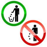 Keine Abfalldreieckzeichen Stockbilder