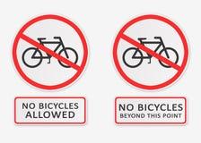 ` Keine Fahrräder erlaubte ` und ` keine Fahrräder über dieses Punkt ` Zeichen hinaus Lizenzfreies Stockfoto