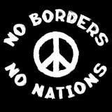 Keine Grenzen, die keine Nationen und pazifisches Symbol unterzeichnen Begriffssozialschwarzweiss-Stempel Stockbilder