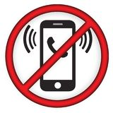 Keine Handy-Linie Ikone Stockfoto