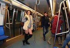 Keine Hosen-U-Bahn-Fahrt Bukarest 2015 Stockbilder
