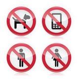 Keine Hunde, keine Telefone, keine Männer, kein Frauen warninng Zeichen lizenzfreie abbildung