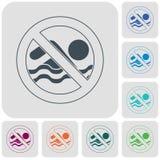 Keine Schwimmenverbotszeichenikone Stockfotografie