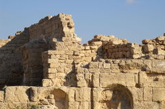 Keisaria castle ruins. Keisaria castle built by crusaders ruins, excavations, tourists site Stock Photo
