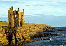 Keiss Castle Ruins. On A99 on the John O Grouts road. Keiss Castle tower ruins, Keiss, Caithess, Scotland, UK Stock Photo