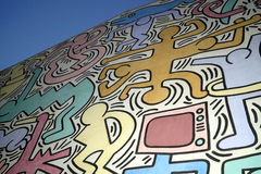 Keith Haring details. View of the Keith Haring  graffiti realized in Pisa in June 1989 Royalty Free Stock Photo