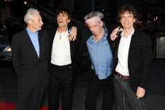 "Keith Richards,Charlie Watts. The Rolling Stones - Charlie Watts, Ronnie Wood, Keith Richards and Mick Jagger at the premiere for ""Crossfire Hurricane"" being Royalty Free Stock Image"