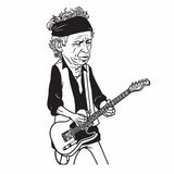 Keith Richards of The Rolling Stones Black and White Cartoon Caricature Portrait. Keith Richards of The Rolling Stones Cartoon Caricature Portrait Illustration Royalty Free Stock Photos
