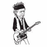 Keith Richards The Rolling Stones kreskówki karykatury Czarny I Biały portret Zdjęcia Royalty Free