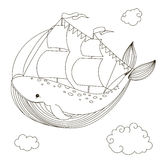 Keith ship with sails. Vector illustration drawn by hand. Isolated outline on a white background Stock Image