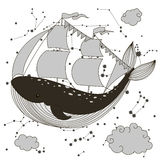 Keith ship with sails. Vector illustration drawn by hand. Isolated outline on a white background Royalty Free Stock Image