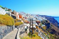 Keiweg aan het eiland Griekenland van Fira Santorini Royalty-vrije Stock Foto's